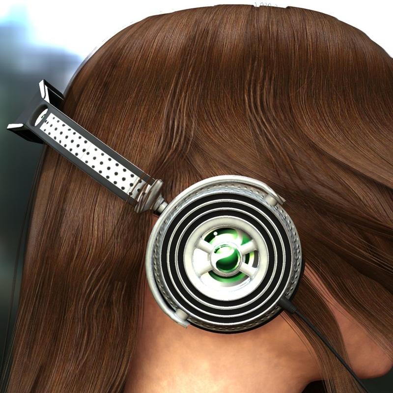 3d Model Woman Iphone Headphones