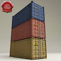 3d containers set modelled