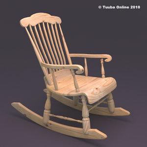 finnish rocking chair - 3d obj