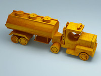 3D model of wooden toy vehicle truck trailer tank