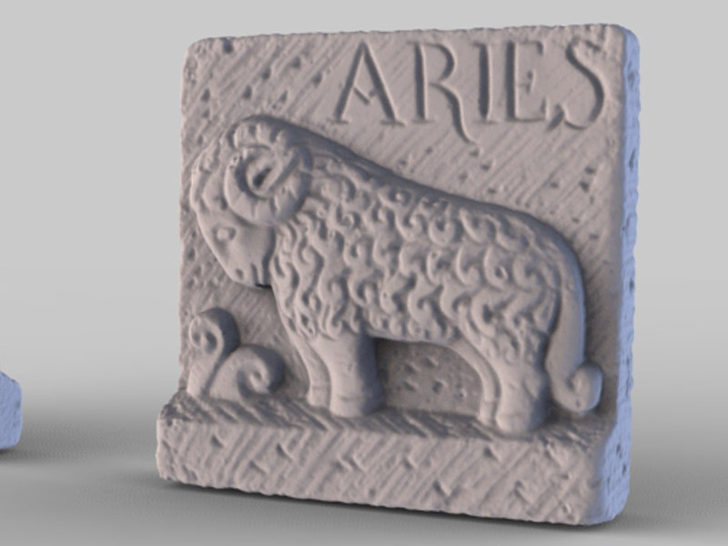 obj structured stone aries plaque