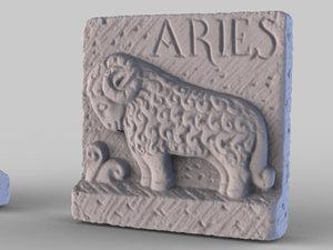 obj structured stone aries plaque
