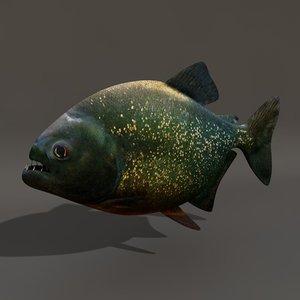 carnivorous fish piranha 3d model