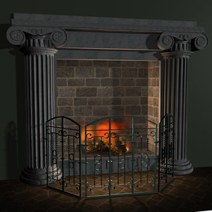 fireplace grate marble 3d model