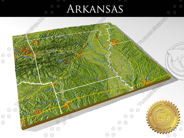 3d model relief arkansas
