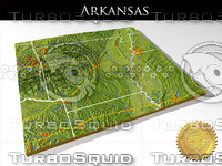 Arkansas, High resolution 3D relief maps