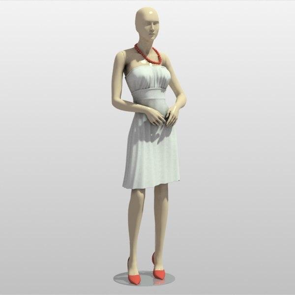 woman mannequin dress 3d max