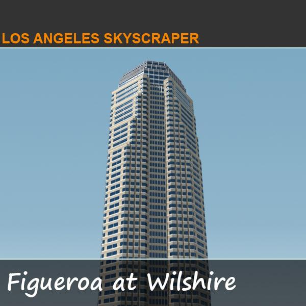 3d model figueroa wilshire skyscraper