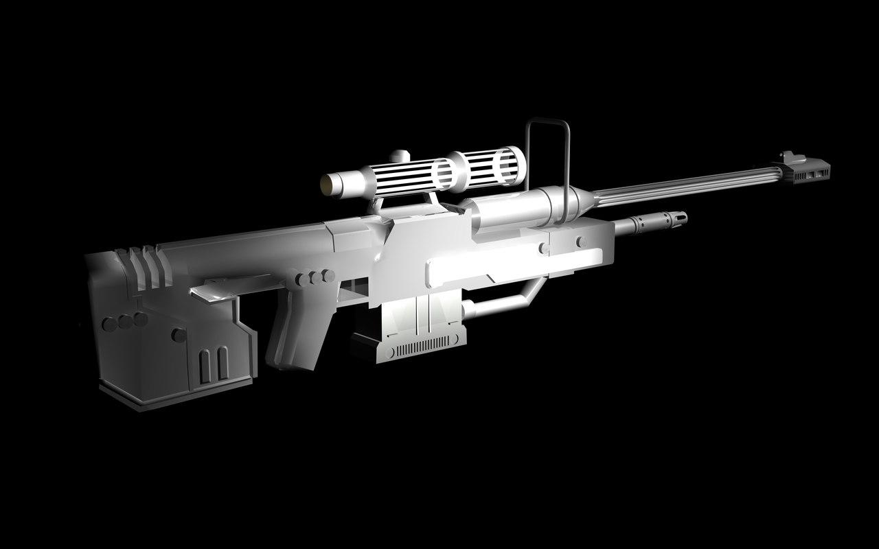 free srs99d sniper rifle 3d model