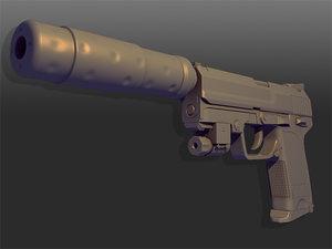 3d model silenced pistol