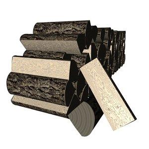 pile cut wood 3d model