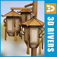 chinese street lamp lights 3d model