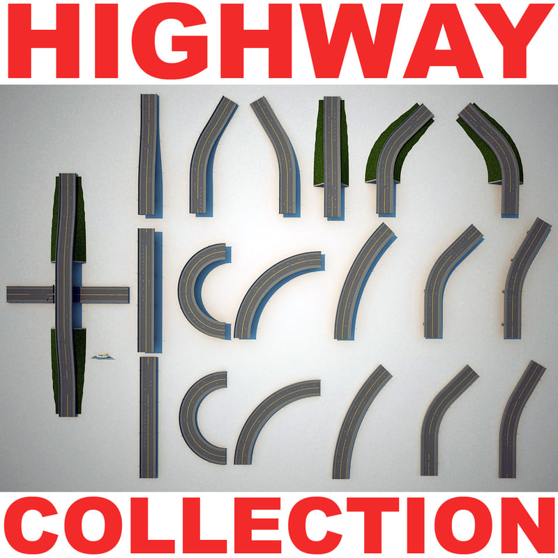 highway set modelled 3d model
