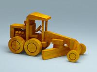 maya wooden toy road grader