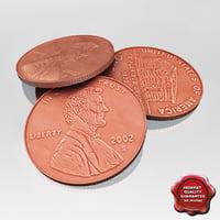 3d model usa coin 1 cent