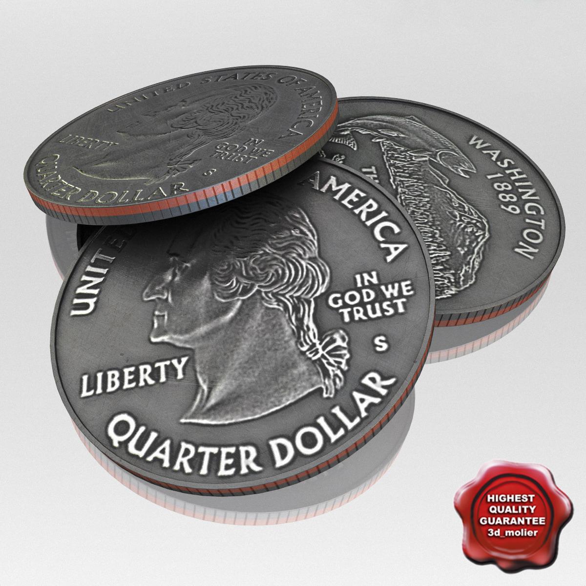 3d max usa coin 1 dollar