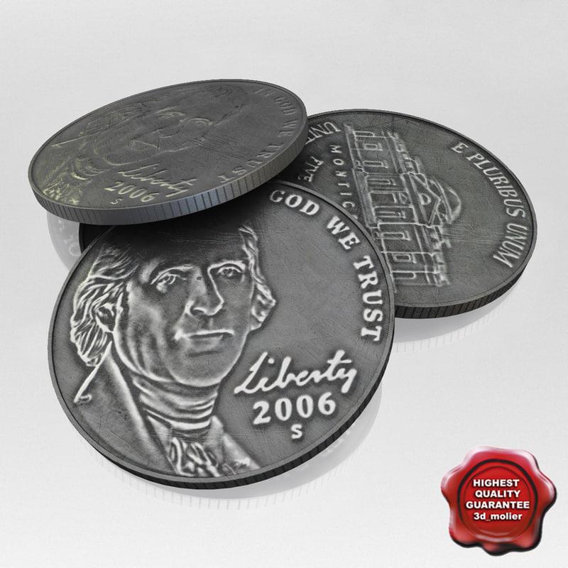 usa coin 5 cent 3d model