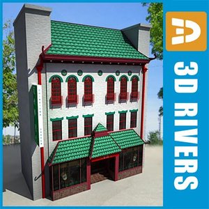 3d model of low-poly china town 3-storey