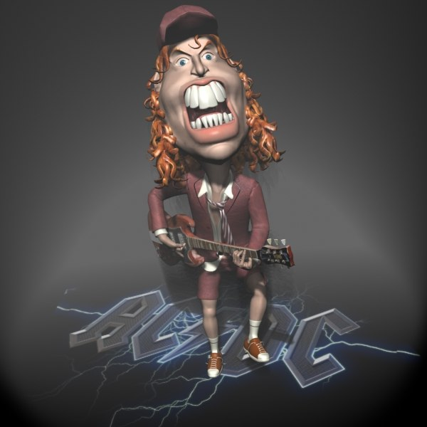 angus young toon character 3d model