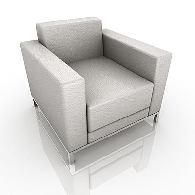 3d leather armchair