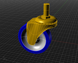 3 inch caster 3d 3ds