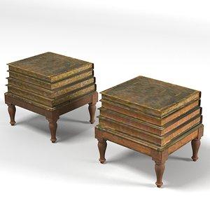 3d model classic book table