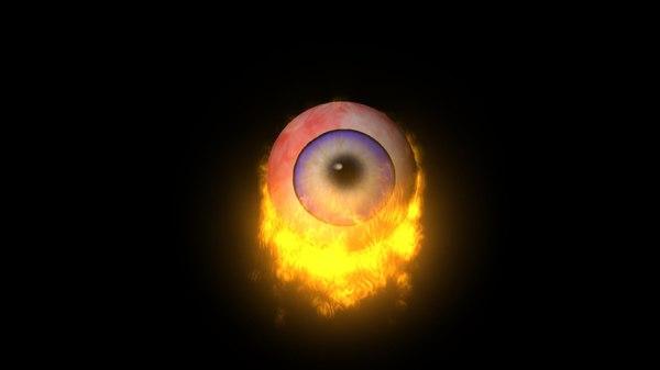 3d flaming eye