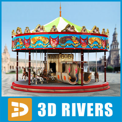 carousel amusement park 3d model