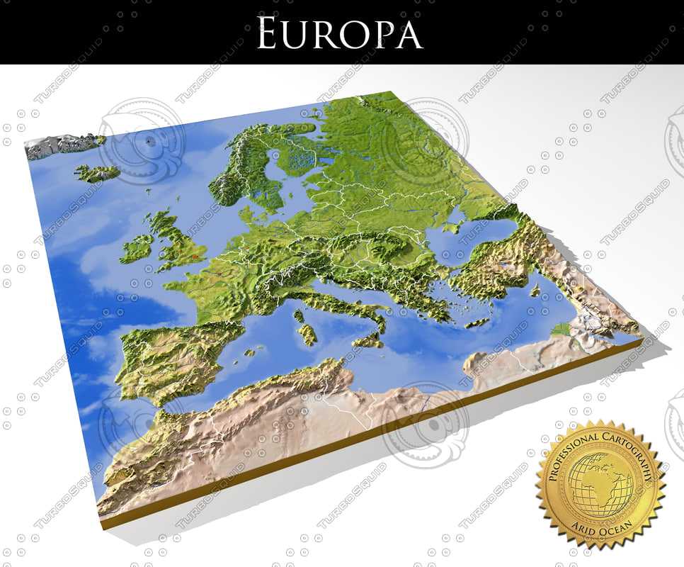 High Resolution Map Of Europe.Relief Europe 3d Max