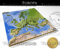 Europe, High resolution 3D relief maps
