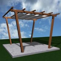 wood pergola 3d 3ds