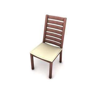 tall wooden dining chair 3d 3ds