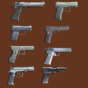 pistols weapons pack 3d model