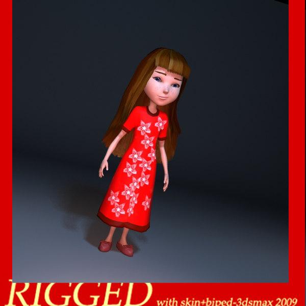 girl kid child 3d model
