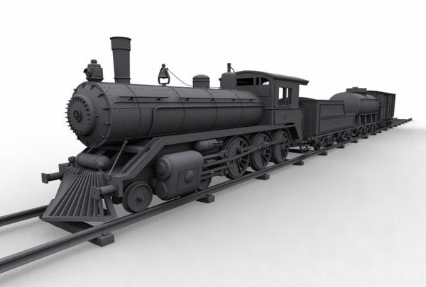 clasical train locomotive 3d model