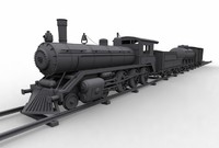 clasical train locomotive 3d model