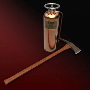 3d extinguisher fireman's axe