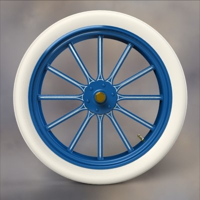 wood wheel balloon tire 3d obj