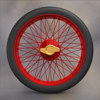 3d obj wire wheel tire vintage