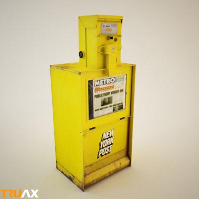 new york post newspaper vending 3d model