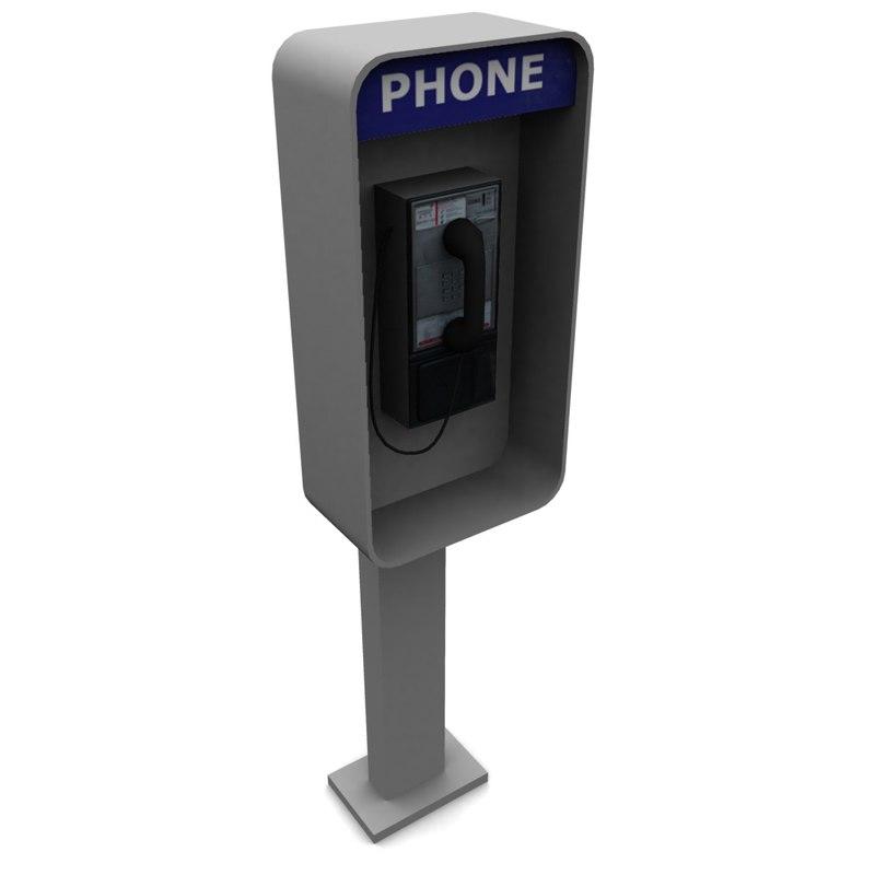 3d model street telephone