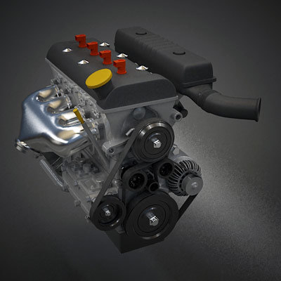 3d 3ds inline 4 cylinder petrol engine