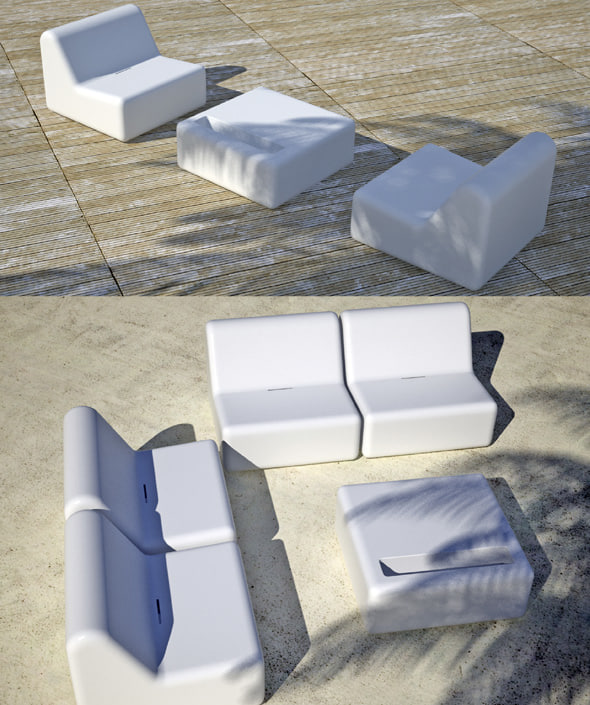 table sun lounger 3d model
