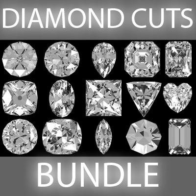 3d model of cuts diamond