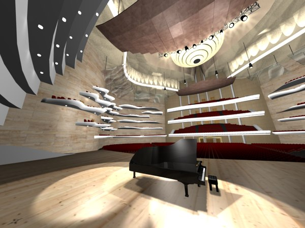 concert hall 3d obj