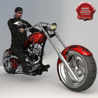 Custom Chopper Bike and Biker