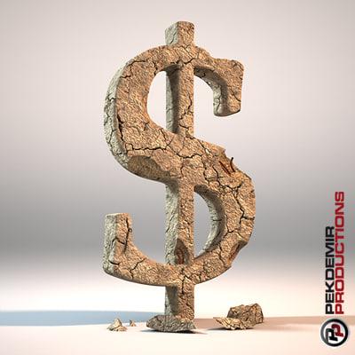 crumbling dollar 3d model