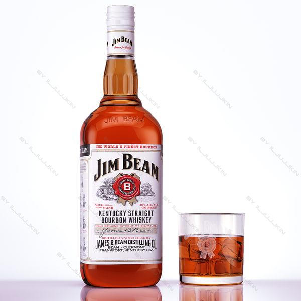 bottle glass jim beam 3d model