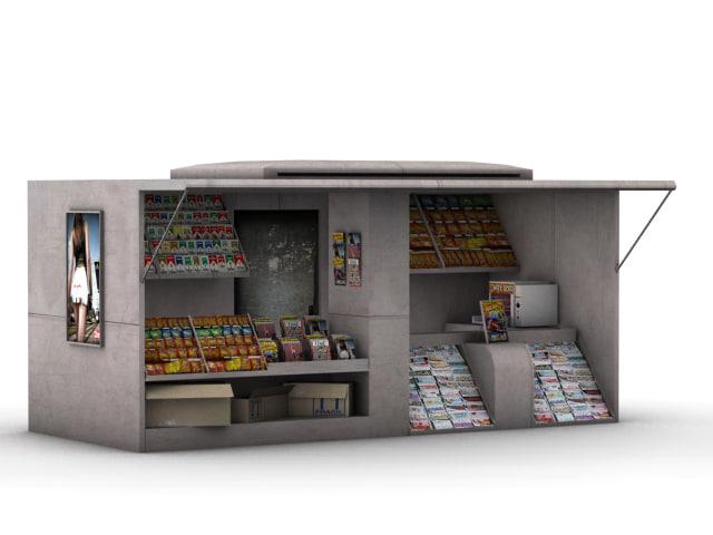 street newsstand 3d model
