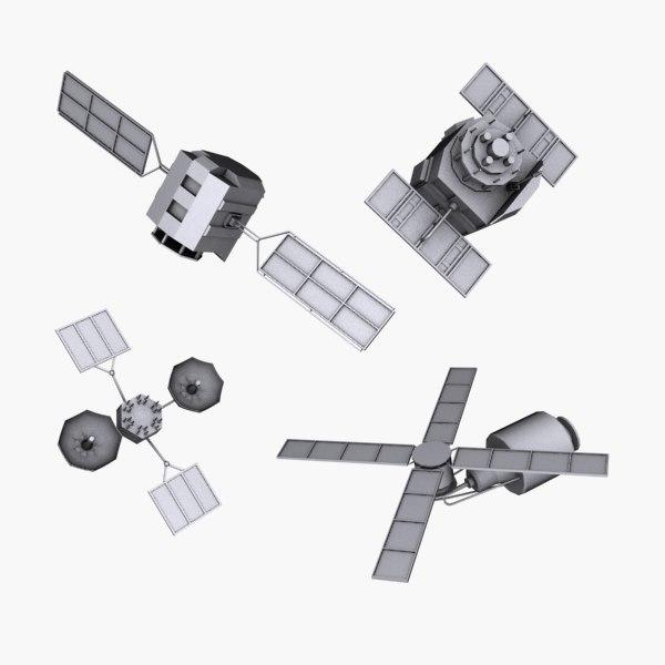 satellites space 3d model